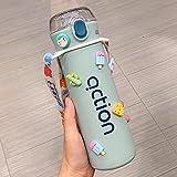 MLLM Termo Taza de café BPA-Free 100% a Prueba de Fugas,con Ventosa de Alta pigmentación;Estudiante Imprimir Taza de Agua portátil-Azul B,Botella Acero Inoxidable Agua para Llevar Sin Bpa