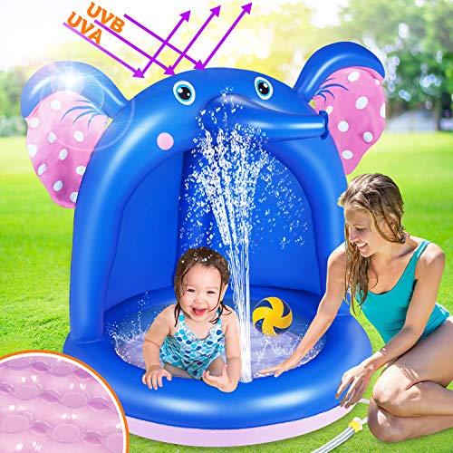 lenbest Aufblasbares Planschbecken, l'éléphant Baby Pool mit Sonnenschutz, Splash Kinderzelt Schwimmbecken, Kinder&Toddlers Sommer Wasserspielzeug Sommergeschenk für Garten Strand Schwimmbad