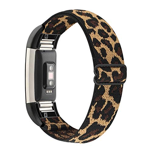 WONMILLE Stretchy Bands Compatible with Fitbit Charge 2, Classic & Special Edition for Women Men, Elastic Adjustable Soft Nylon Sport Strap Charge 2 HR Wristband Accessories (Leopard)