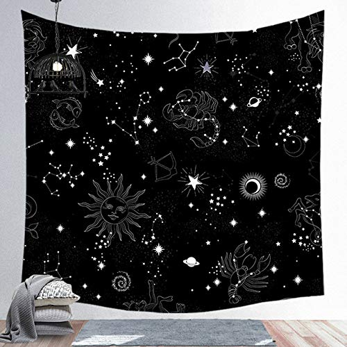 Miwaimao Melktapijt muur multifunctionele opknoping muur tapijt sterrenhemel sterrenbeeld elementen voor slaapkamer woonkamer huisdecoratie 95Cmx73Cm