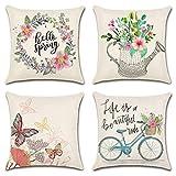 NouveLife Juego de 4 fundas de almohada de 45,7 x 45,7 cm, decoraciones de primavera para el hogar, vacaciones, decoración de lirio, camión, bicicleta, funda de cojín para sofá