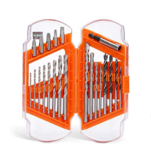 WELLCUT 22-Piece Universal Screwdriver & Drill Bit Set (Wood, Masonry, Metal, Accessories for Drills) in a Portable Case for DIY Projects Repair and Maintenance