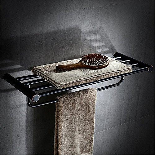 MBYW moderner Handtuchhalter mit hoher Tragkraft Badhandtuchhalter Kupfer europäisches schwarzes Badezimmer-Anhängergestell einpoliger Doppelhandtuchhalter Hardware-Anhängerhandtuchhalter