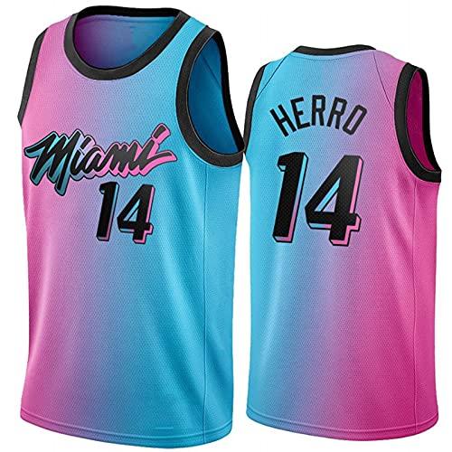 Miami Heat 14# Herro Camisetas De Baloncesto para Hombre, Chaleco Deportivo De Uniforme De Baloncesto Swingman De Edición De Ciudad 20-21 Pink, Camiseta de Fan(Size:S,Color:A1)