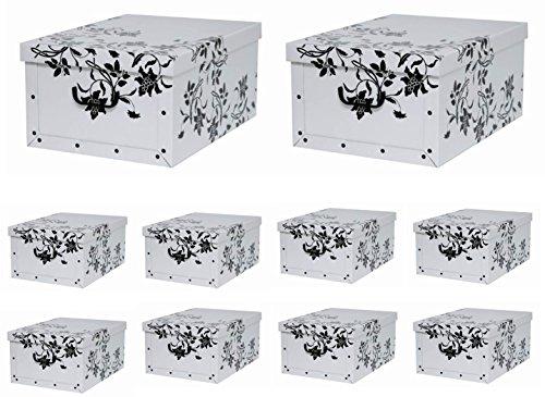 10 Stück XXL Dekokarton mit modernem Muster Barock Blumen Weiß - Tolles Motiv, passt in jeden Haushalt! Edel und hochwertig! Mit Griffen zum Tragen und XXL Volumen!