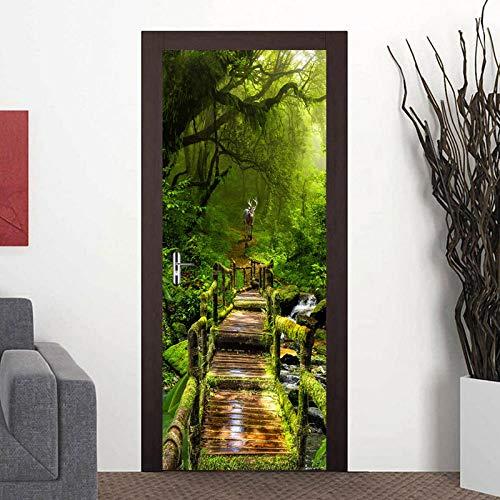 Papel tapiz de puerta de bosque, papel tapiz fotográfico 3D para sala de estar, pegatinas de puerta DIY, papel tapiz de vinilo para puerta, decoración del hogar