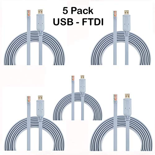 AGS Retail Ltd - Paquete de 5 cables de consola FTDI USB...