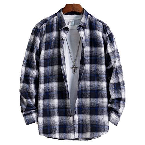 Wowcarbazole チェックシャツ メンズ 長袖 メンズシャツ 綿 カジュアル シャツ 春 秋 大きいサイズ ブルー (WJP0005BL-L)