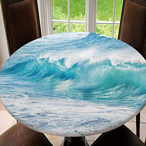 AmaUncle Elastic Edged Table Cover, Round Tables Tablecloth Table Cloth, Turquoise Waves at Sandy Beach, Oahu, Waterproof Table Pads Tablecloth Size 48'(Fit for 36.2'-40.1' Table) SW158178