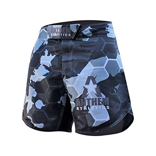 Anthem Athletics Defiance Kickboxing Short MMA Shorts - Muay Thai, BJJ, WOD, Cross-Training, OCR - Orange Line Camo - 30'