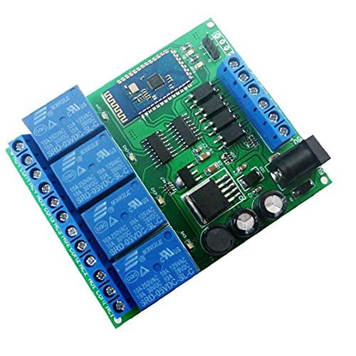 Módulo de relé de 4 canales Bluetooth DC 5V 9V 24V 12 Smart Wireless auto-bloqueo momentáneo de bloqueo de control remoto del interruptor azul, placa de relés de Bluetooth