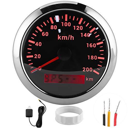 Akozon Navegación automática marina Cuentakilómetros velocímetro 200km / h Pantalla HD de 85 mm Universal para barco, yate, motocicleta, coche(Negro)