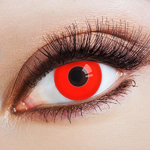 aricona Kontaktlinsen - Rote Kontaktlinsen stark deckend ohne Stärke - Farbige Kontaktlinsen Motivlinsen für Karneval, Fasching, Cosplay und Motto-Partys, 2 Stück