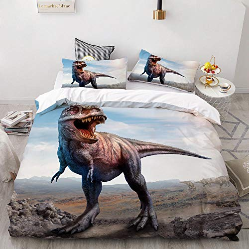 Bxnthd Bedding Sets for Children, Children's Bedding, Cartoon animal dinosaur tyrannosaurus, 3-Piece Bedding Set with Chain Zip and Pillowcase, Microfibre Duvet Cover for Girls Boys, (King size 240