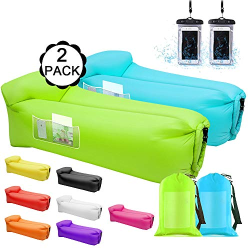 Air Sofa Inflatable Loungers,2 Pack Inflatable Couches and Sofas - Water Proof&Anti-Air Leaking Blow Up Couch Air Lounger Hangout Sofa For Beach,Parties,Travelling,Camping, Hiking,Picnics(Blue&Green)
