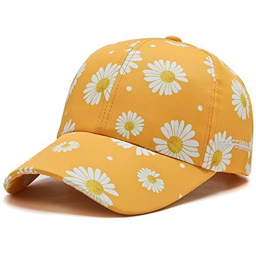 wtnhz Artículos de Moda Gorra de béisbol Daisy versión Coreana Femenina Gorra Coreana de crisantemo con Estampado Completo Gorra de protección Solar de Primavera y veranoRegalo de Vacaciones