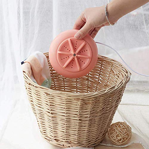 Mini Washing Machine, Portable Ultrasonic Turbine Washing Machine, Spin Dryer Laundry Washer for Travel Home Clothes. (Color : Pink)