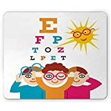 Eye Chart Mouse Pad, of The Sun and 3 Children with Eyeglasses at a Doctor Control, Alfombrilla de ratón de Goma Antideslizante, 25 x 30 cm, Multicolor