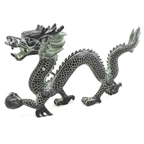 Drachen Krafttier Figur (36cm) China Dragon Tierkreiszeichen Zink Skulptur - AsienLifeStyle