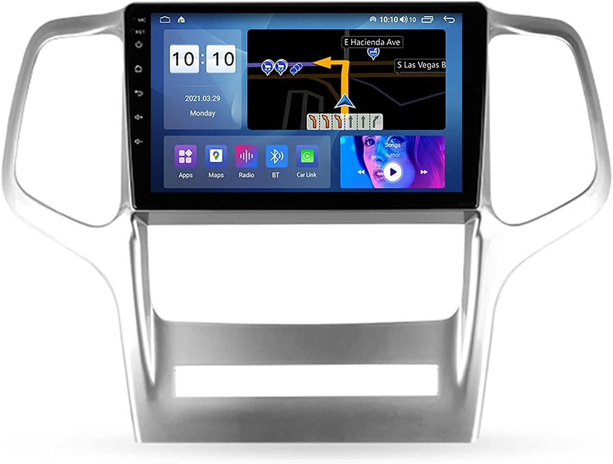 HBWZ Android 10.0 Car Stereo Double Din Radio for J-eep Grand Cherokee WK2 2010-2013 GPS Navigation 9'' Multimedia Player Bluetooth Video Receiver with 4G/5G WiFi SWC DSP USB Carplay