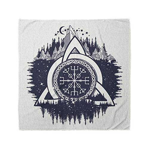Ambesonne Unisex Bandana, Blue and White Celtic Knot, Dark Blue