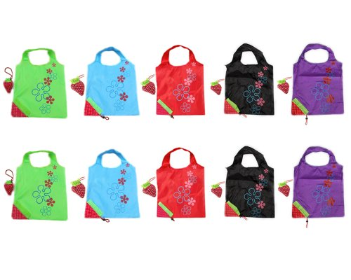 "Recycle shopping bags are made from durable premium nylon, unlike other brands with low quality nylon. Please refer to customer reviews. The wholesale lot package includes 10 bags. Width:36.5cm (14.37""), Length (exclude handle) 37.5cm (14.76""), Handl..."