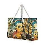 Bolsa grande de viaje para la playa con pintura egipcia antigua con cremallera, impermeable, bolsa de hombro para mujeres, niñas, hombres, unisex