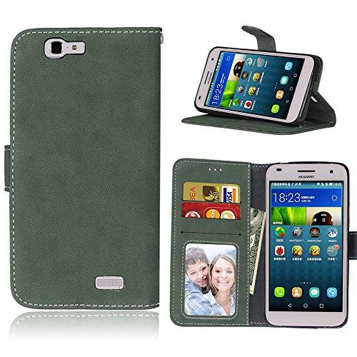 Handy Kasten für Huawei Ascend G7,Bookstyle 3 Card Slot PU Leder Hülle Interner Schutz Schutzhülle Handy Taschen(Grün)