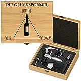 Murrano Weinöffner-Set personalisiert Weinset Sommelier Set - Geschenkbox Holzbox + 6er Weinzubehörset - aus Bambus - Braun - Geschenke für Frauen zum Geburtstag - Glücksformel