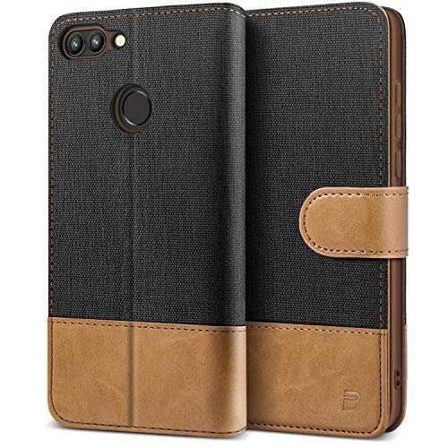 BEZ Cover Huawei P Smart, Custodia per Portafoglio Huawei P Smart Protettiva in Tela e PU Pelle Portafoglio Flip Cover con Chiusura Magnetica, Nero