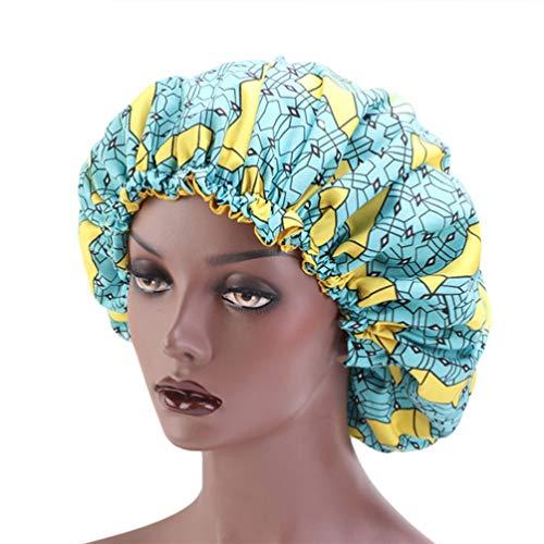 KESYOO Sommeil Nuit Casquette Large Bande Satin de Soie Bonnet Nuit Tête Couverture Doux Cheveux Turban Chimio Cap Perte de Cheveux Chapeau pour Les Femmes (Bleu Clair)