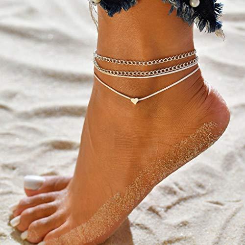 Genglass Boho coeur bracelets de cheville en argent bracelets de cheville plage pied chaîne bijoux pour femmes et filles (Pack de 2)