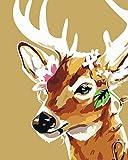 Pintura al óleo moderna de bricolaje por números ciervos pintados a mano lienzo imagen de la pared arte animal decoración del hogar 0136-16 * 20 pulgadas sin marco