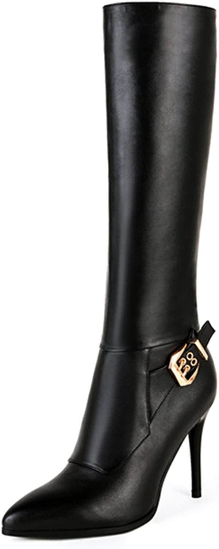 Nine Seven Genuine Leather Women's Pointy Toe Sexy Stiletto Heel Buckle Handmade Dress Knee High Boot