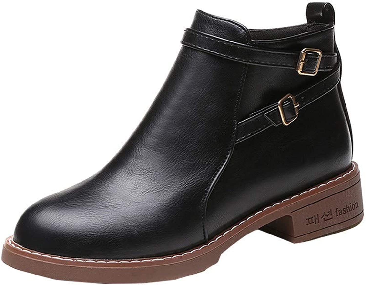 JaHGDU Women Fashion Solid Leather Medium High Closure Thick Martin Boots Round Toe Brown shoes Black Cosy Wild Casual Quality Super Elegant Leisure for Womens