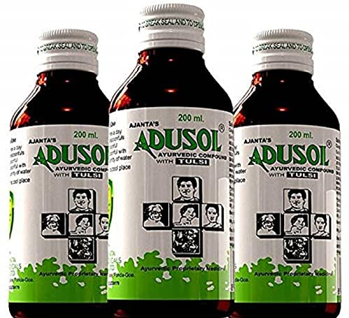 AJANTA'S ADUSOL: Pack of 3 | AJANTA'S ADUSOL Ayurvedic Tulsi Cough Syrup Prevent from Cold Wet Dry Cough | Good For kids & Adults | Khansi Ki Dava| Best Cough Relief Product | Adusol 200ml