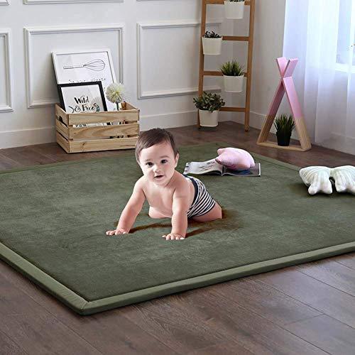 Verdicken Sie Memory-schaum Baby-spielmatte,große Samt-teppich Non-slip Fußmatten Kriechteppiche Für Kinderzimmer Schlafzimmer Wohnzimmer Yoga Matte Tatami Matte-dunkelgrün 200x260cm(79x102inch)