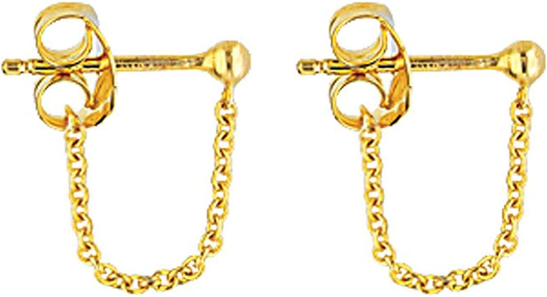 14k Yellow Gold Front Back Design Earrings with Ball Post and Cable Chain