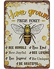 Home Grown Fresh Honing Vintage Tin Sign Motivational Quote Tin Sign Teken Bee Wall Art Teken Voor Thuis Badkamer Cafe Bar Pub Man Cave Vape Shop Hotal Gemak Winkel Muur Decor Housewarming Gift 12x8 Inch