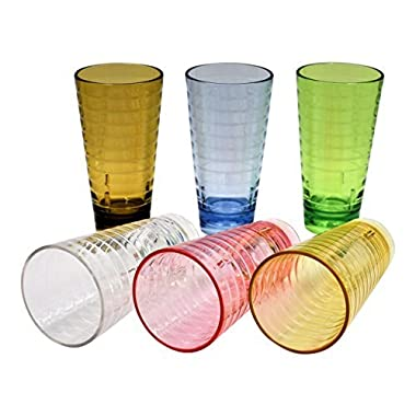Acrylic Tumblers Break-Resistant/Premium Quality Cup/BPA Free Plastic GLASSES/Set of Six 22oz, Assorted Colors For Water, Iced Tea, Cocktail, Beer, Hot/Cold Beverages