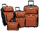 Travel Select Amsterdam Expandable Rolling Upright Luggage, Orange, 4-Piece Set