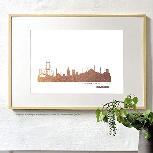 Istanbul Skyline Bild Wandeko, Personalisierte Geschenkidee für Besondere Anlässe in S/W Rose Gold...