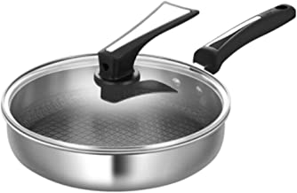 CPWJD Frying Pan,Frying Pan And Wok, Frying Pan Pan Fried Egg Pot Stainless Steel Flat Frying Pan 26CM (Color : Silver, Si...