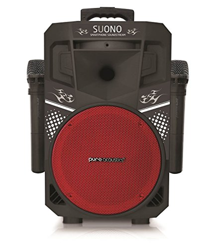 Pure Acoustics Wireless Portable Bluetooth PA Audio Speaker with 2 Wireless Microphones FM Radio...
