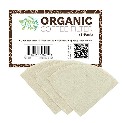 The Green Polly Organic Hemp Cloth Coffee Filter Cone No. 4, 3-Pack, Reusable | Zero-Waste and Eco-Friendly | Mold-Proof | All-natural Hemp Cotton Cloth Coffee Filters