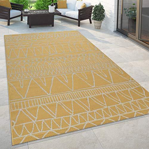 Paco Home Tapis Intérieur Et Extérieur Balcon Terrasse Cuisine Boho Moderne Oriental, Dimension:120x160 cm, Couleur:Jaune
