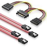 deleyCON Juego de 2X Cables SATA III con Enchufe Recto + Cable Adaptador de Alimentación para Disco Duro SSD HDD