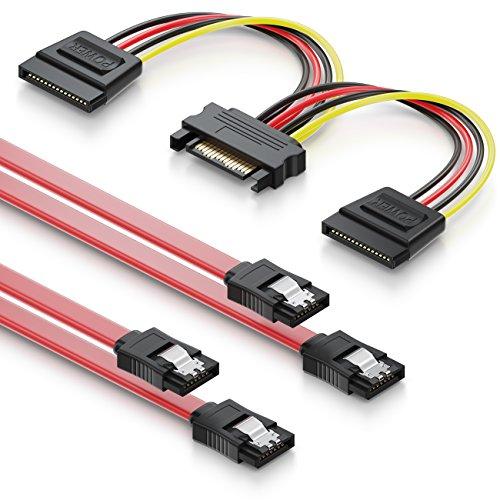 deleyCON Set di Cavi SATA con 2 Cavi SATA III con Connettore Dritto + Y Cavo Adattatore di Alimentazione per SSD HDD Hard Disk
