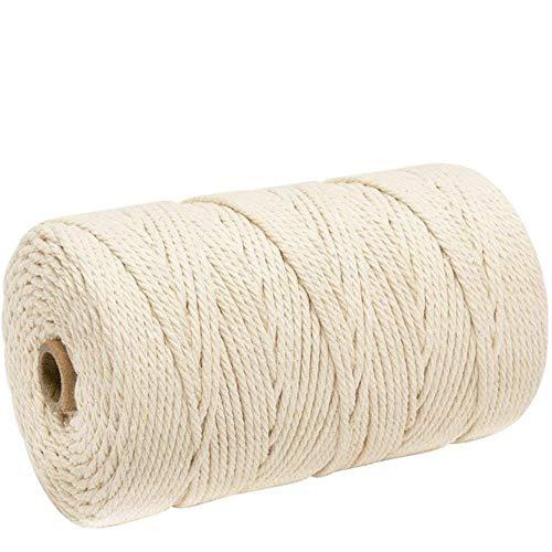 Cordón de algodón macramé para Colgar en la Pared Dream Catcher DIY Cordón Ficelles Couleurs Cordón de Hilo DIY Textil para el hogar 3 mm x 200 m, Blanco arroz