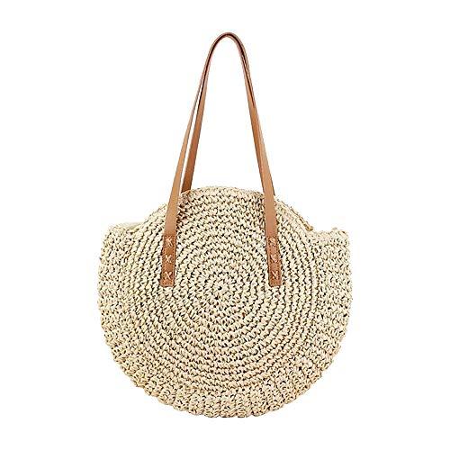 Strohtaschen Strandtasche Damen Handtaschen Grasgewebt Schulterbeutel Vintage Exquisite Rund Handtasche mit Reißverschluss Sommer Meer Strandtasche (Beige)